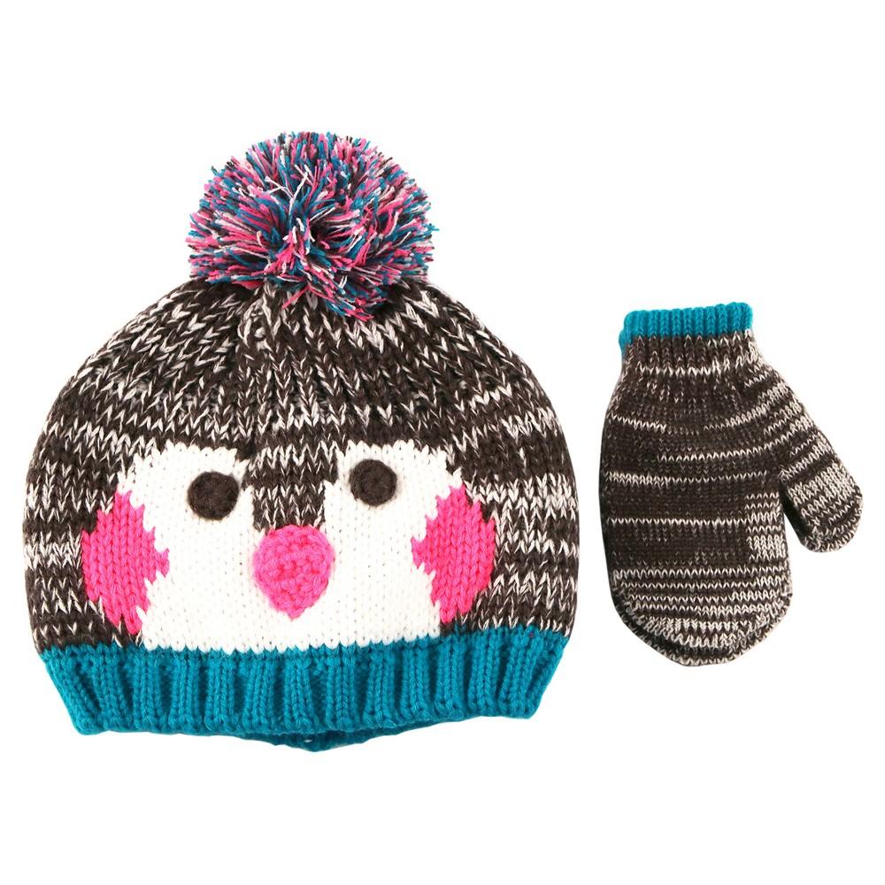 Girls' Pom Penguin Hat and Mitten Set Toddler - Cat & Jack Aqua Freeze Toddler, Blue