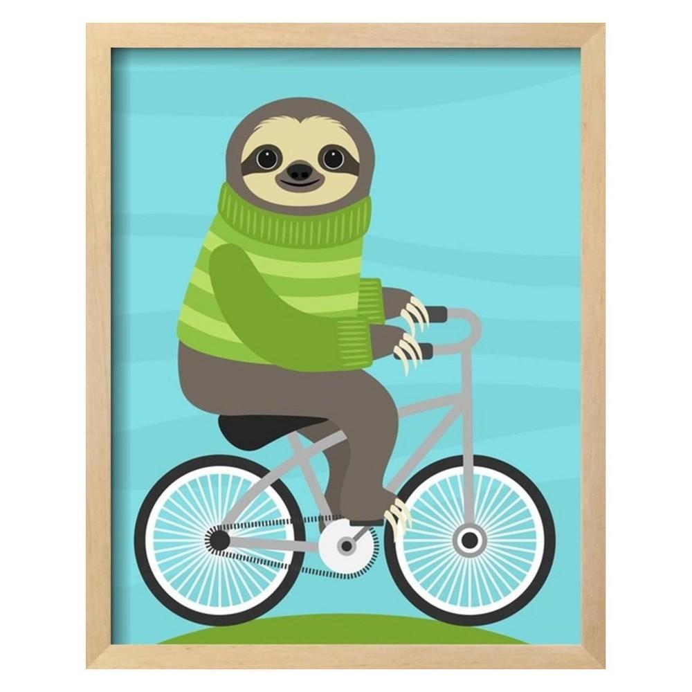 Cycling Sloth By Nancy Lee Framed Wall Art Poster Print 16