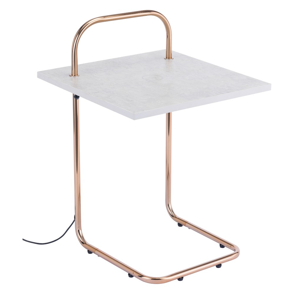 Modern Wireless Charging Square Side Table Gray/Gold - ZM Home