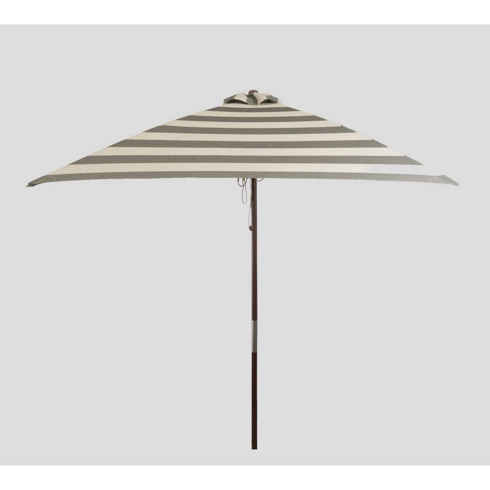 Image of 6.5' Square Classic Wood Striped Market Umbrella Black/Ivory - Parasol