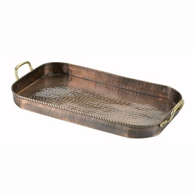 "Old Dutch 18"" x 10.5"" Iron Antique Serving Tray with Brass Handles Copper"