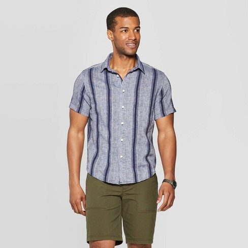Men's Jacquard Short Sleeve Novelty Button-Down Shirt - Goodfellow & Co™ Xavier Navy S - image 1 of 3