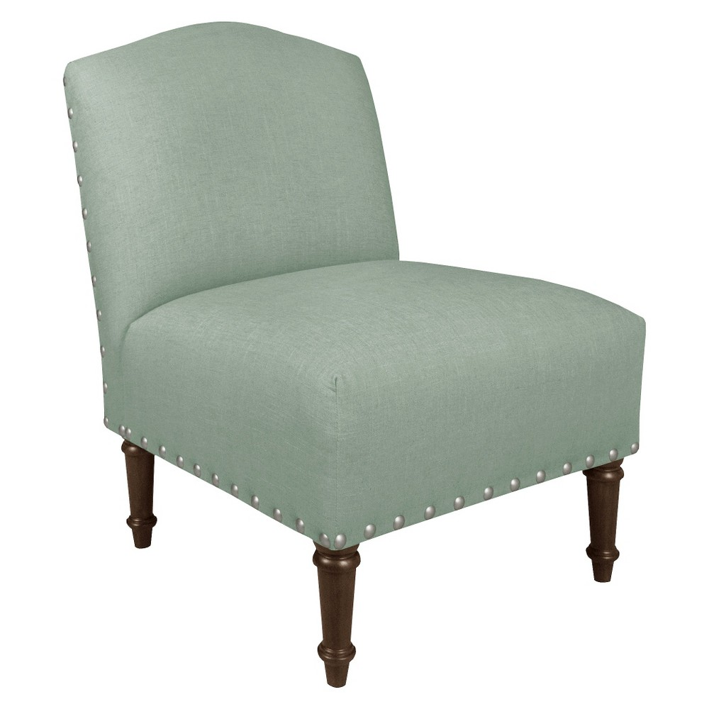 Nail Button Camel Back Chair - Skyline Furniture, Linen Swedish Blue