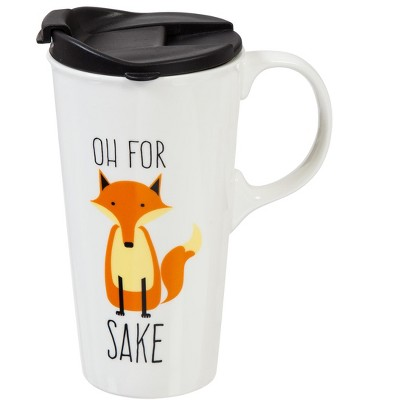Cypress Home Oh For Fox Sake Ceramic Travel Coffee Mug, 17 ounces