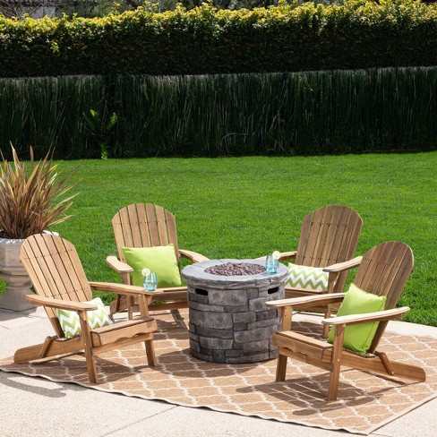 Maison 5pc Acacia Wood and Light Weight Concrete Adirondack Chair and Fire Pit Set - Christopher Knight Home - image 1 of 4