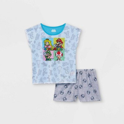 Girls' Super Mario 2pc Pajama Set - Gray