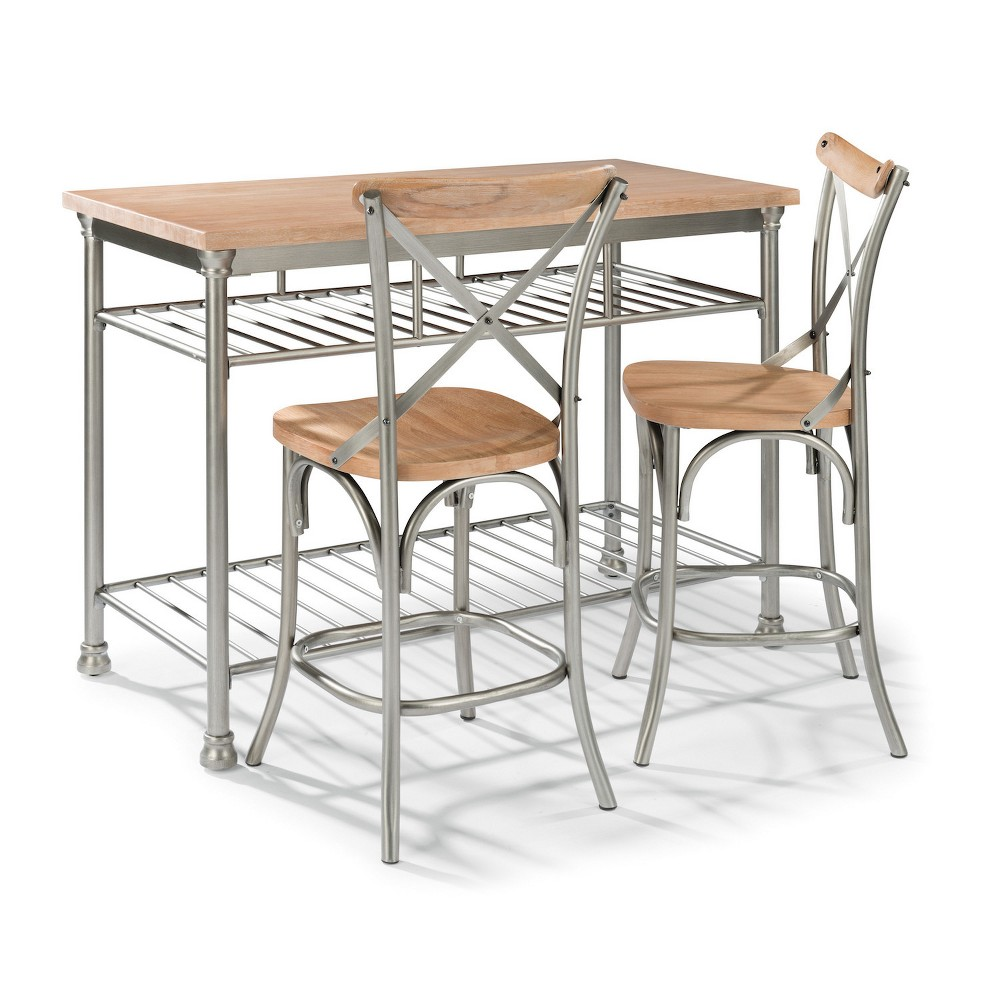 French Quarter Butcher Block Top Kitchen Island & Two Stools Aged White Washed - Home Styles