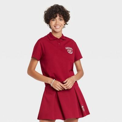 Women's Harvard University Short Sleeve Cropped Graphic Polo Shirt - Maroon