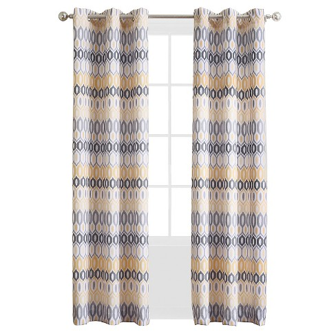 No. 918 Denzel Geometric Print Casual Textured Grommet Curtain Panel - image 1 of 2