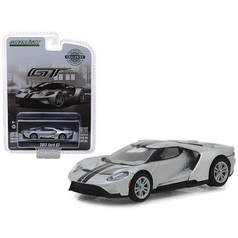 2017 Ford GT Ingot Silver with Black Stripes Hobby Exclusive 1/64 Diecast Model Car by Greenlight - image 1 of 1