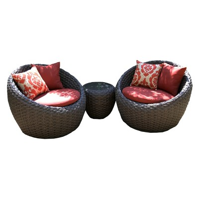 Corona 3 Piece Wicker Conversation Patio Furniture Set : Target