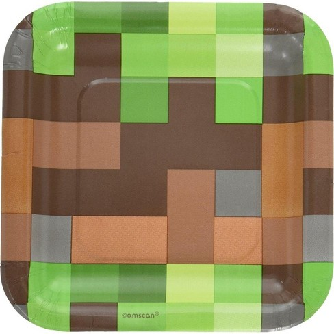 "Amscan Minecraft TNT Party 7"" Square Paper Party Plates, 8-Pack - image 1 of 1"