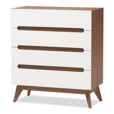 Calypso Mid-Century Modern Wood 4 Drawer Storage Chest Brown - Baxton Studio