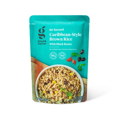 90 Second Caribbean-Style Brown Rice with Black Beans Microwavable Pouch - 8.5oz - Good & Gather™