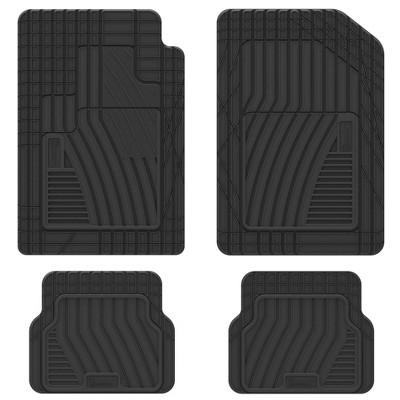 """Michelin 19""""x34"""" 4pc Shape Fit Rubber Floormat Set Black"""