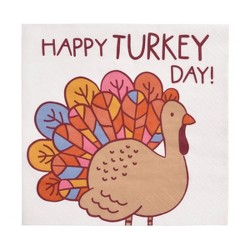 "Square 20ct ""Happy Turkey Day"" Lunch Napkin - Spritz™"