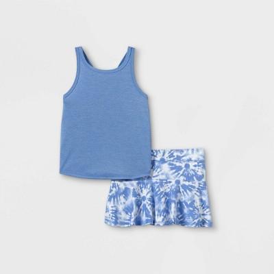 Toddler Girls' Active Tie-Dye Tank Top & Skorts Set - Cat & Jack™ Light Blue