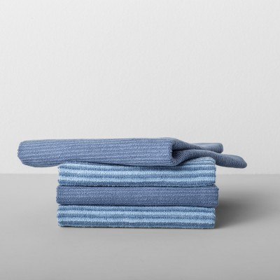 4pk Striped Barmop Towels Blue - Made By Design™