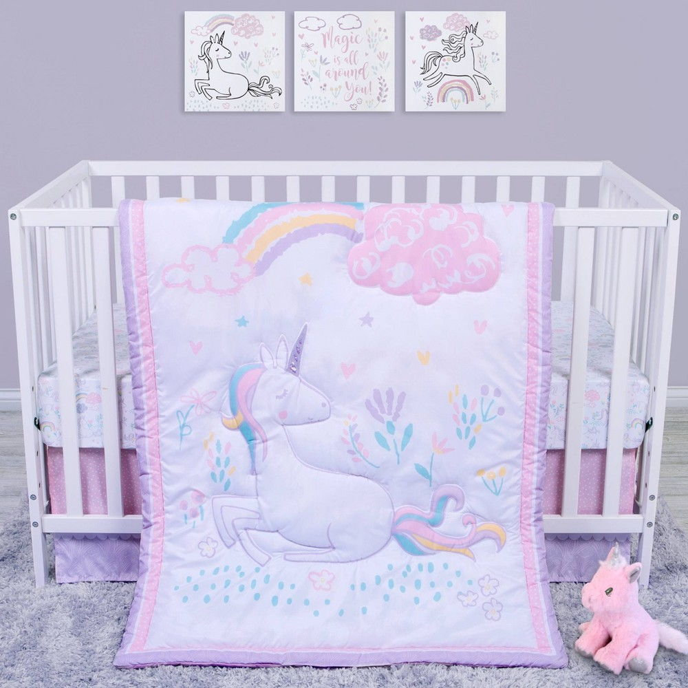 Image of Sammy and Lou Sweet Unicorn Crib Bedding Set - 4pc