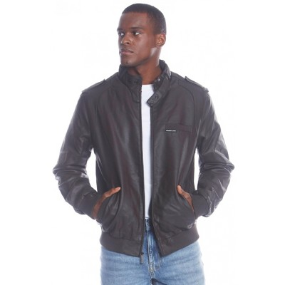 Members Only Men's Big and Tall Faux Leather Iconic Racer Jacket