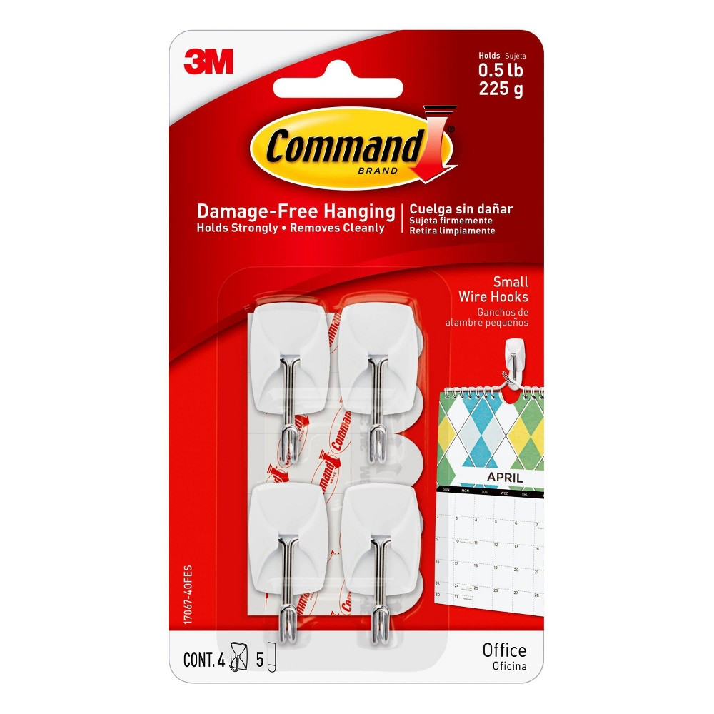 Image of 4ct 3M Command Small Wire Hooks - White