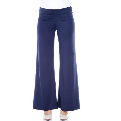 Women's Solid Printed Palazzo Pants - White Mark