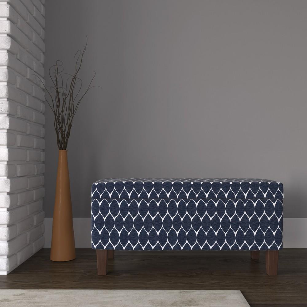 Large Textured Storage Bench - Navy (Blue) - HomePop