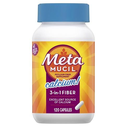 Metamucil Multi-Health Psyllium Fiber + Calcium Capsule 120ct - image 1 of 4