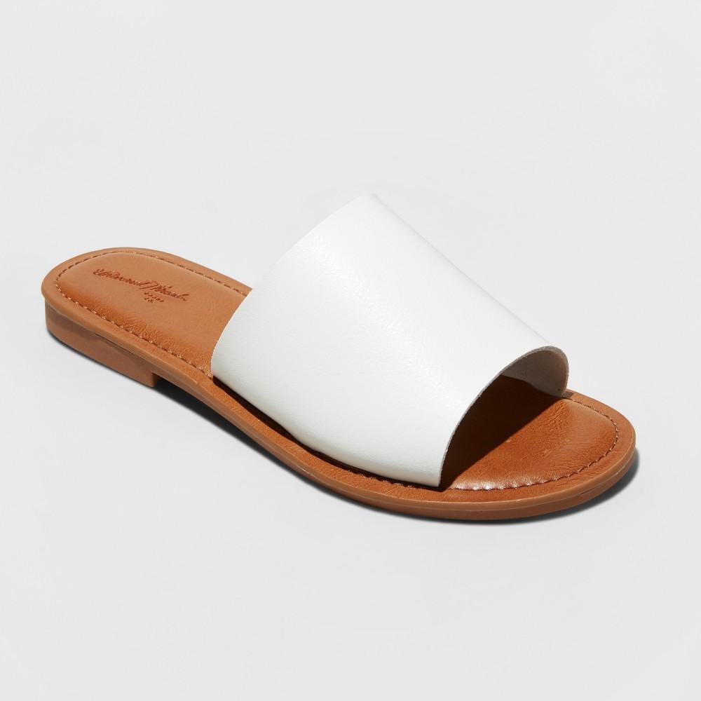 Women's Bertina Wide Width Slide Sandals - Universal Thread White 9W, Size: 9 Wide
