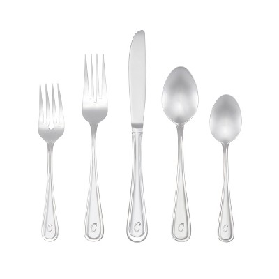 RiverRidge 46pc Personalized Silverware Set Marina Pattern - C