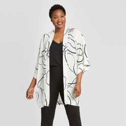 Women's Floral Print Kimono - A New Day™ Cream