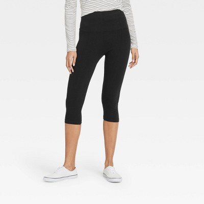 Women's High-Waist Cotton Blend Seamless Capri Leggings - A New Day™