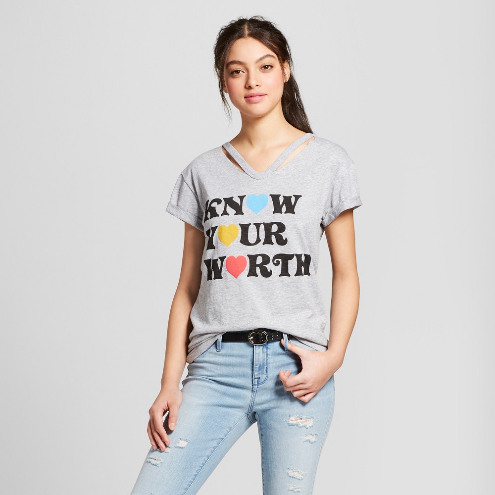 Women's Know Your Worth Short Sleeve Cut Out Neck T-Shirt - Mighty Fine (Juniors') Heather Gray L