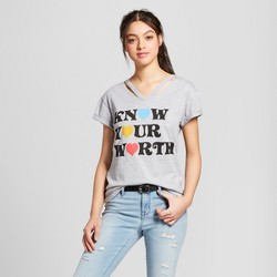 584db86d Women's Know Your Worth Short Sleeve Cut Out Neck T-Shirt - Mighty Fine (