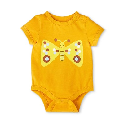 Baby Butterfly Print Shoulder Button Short Sleeve Bodysuit - Christian Robinson x Target Yellow 0-3M