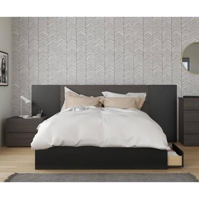 4pc Queen Evoque Bedroom Set with Headboard Extension Panels Black - Nexera