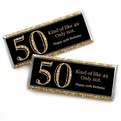 Big Dot of Happiness Adult 50th Birthday - Gold - Candy Bar Wrappers Birthday Party Favors - Set of 24