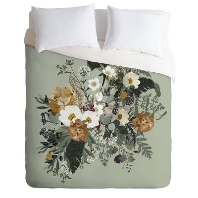 King Iveta Abolina Paloma Midday Comforter Set Green - Deny Designs