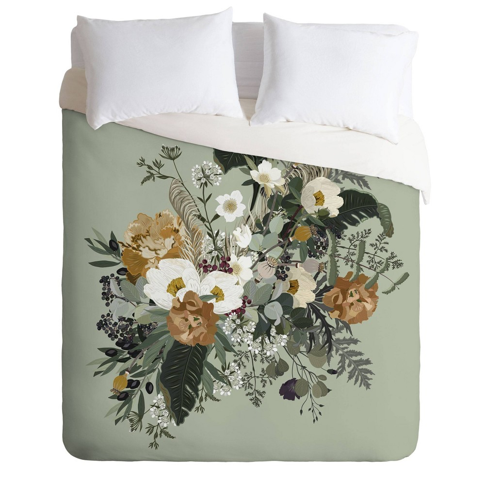 King Iveta Abolina Duvet Cover & Sham Set Green - Deny Designs