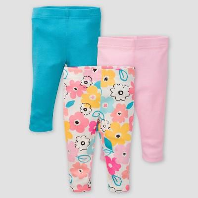 Gerber Baby Girls' 3pk Bear Pull-On Pants - Pink/Off-White/Blue