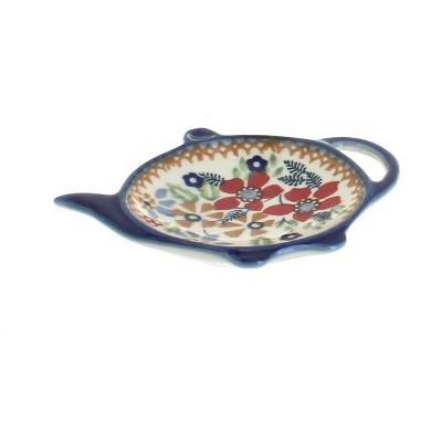 Blue Rose Polish Pottery Red Daisy Teabag Holder