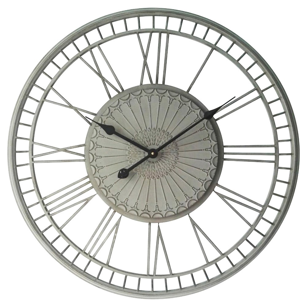 Image of Country Lace Round Wall Clock Gray - Infinity Instruments