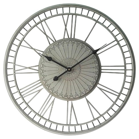 Country Lace Round Wall Clock Gray - Infinity Instruments - image 1 of 3