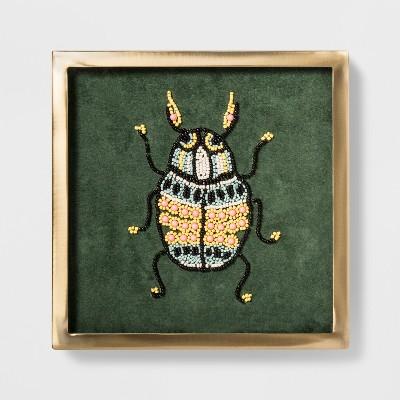10  x 10  Framed Wall Canvas Beaded Bug Art - Opalhouse™