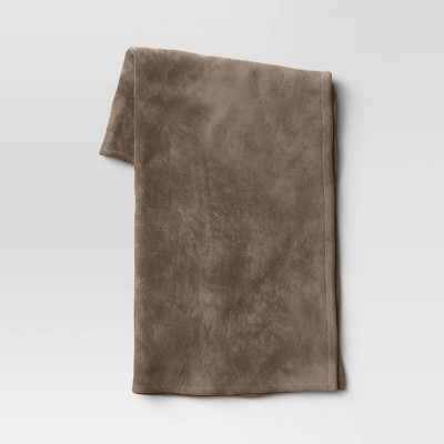"50""x70"" Oversized Primalush Throw Blanket Taupe - Threshold™"