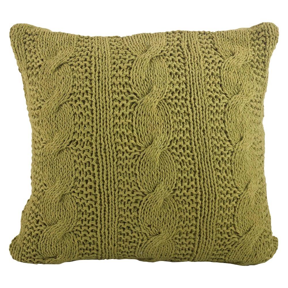 "Image of ""Cable Knit Design Throw Pillow Grass (20""""x20"""") Saro Lifestyle, Grass Green"""