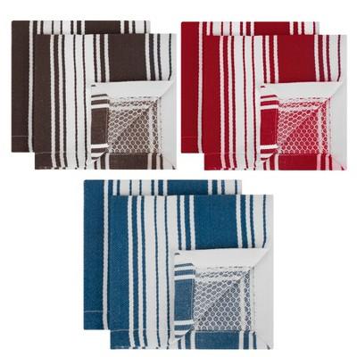 Striped Dish Cloth Blue/Gray/Red Set of 6 - Mu Kitchen