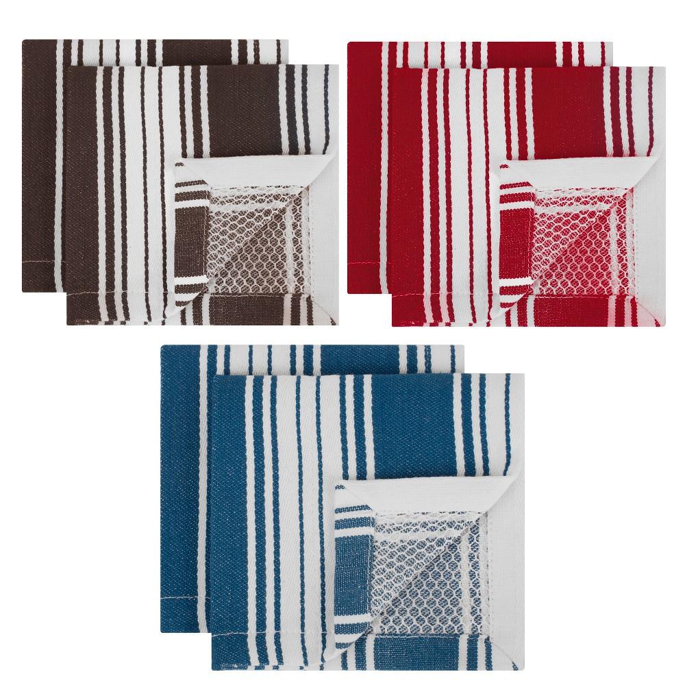 Striped Dish Cloth Blue/Gray/Red Set of 6 - Mu Kitchen, Multi-Colored