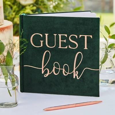 Velvet Foiled Guest Book Green