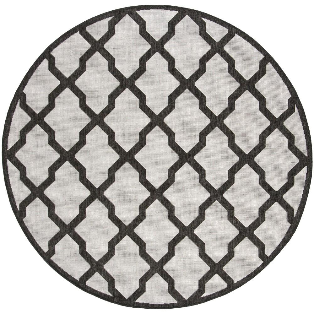 6'7 Geometric Loomed Round Area Rug Light Gray/Charcoal - Safavieh